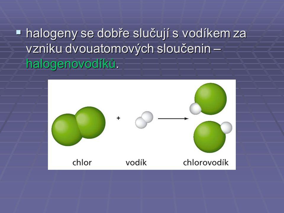  halogeny se dobře slučují s vodíkem za vzniku dvouatomových sloučenin – halogenovodíků.