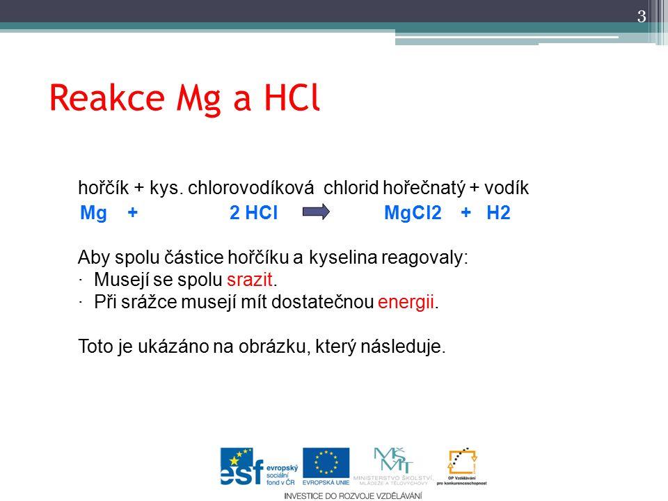 Reakce Mg a HCl hořčík + kys.