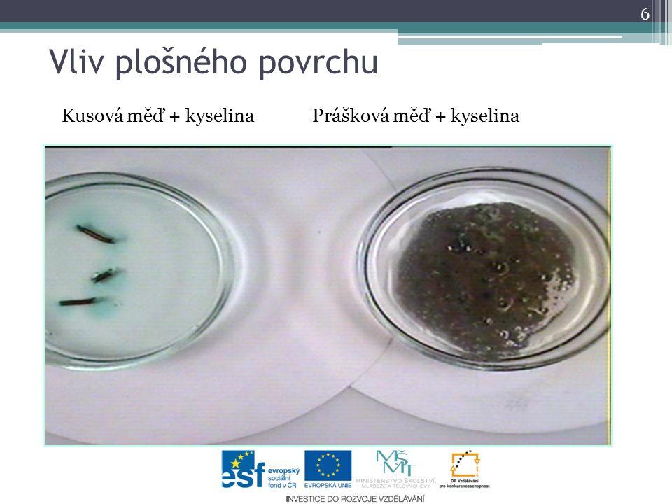 Vliv plošného povrchu Kusová měď + kyselina Prášková měď + kyselina 6