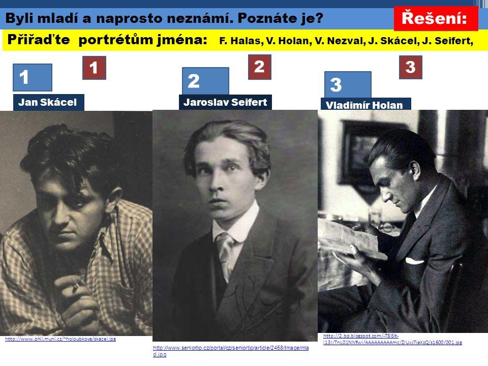 1 2 3 2 3 1 Přiřaďte portrétům jména: F. Halas, V.