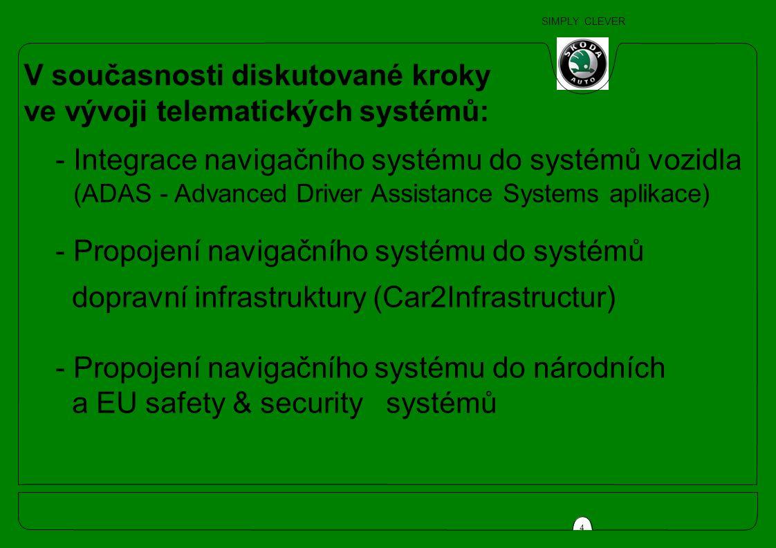 SIMPLY CLEVER 4 V současnosti diskutované kroky ve vývoji telematických systémů: - Integrace navigačního systému do systémů vozidla (ADAS - Advanced Driver Assistance Systems aplikace) - Propojení navigačního systému do systémů dopravní infrastruktury (Car2Infrastructur) - Propojení navigačního systému do národních a EU safety & security systémů