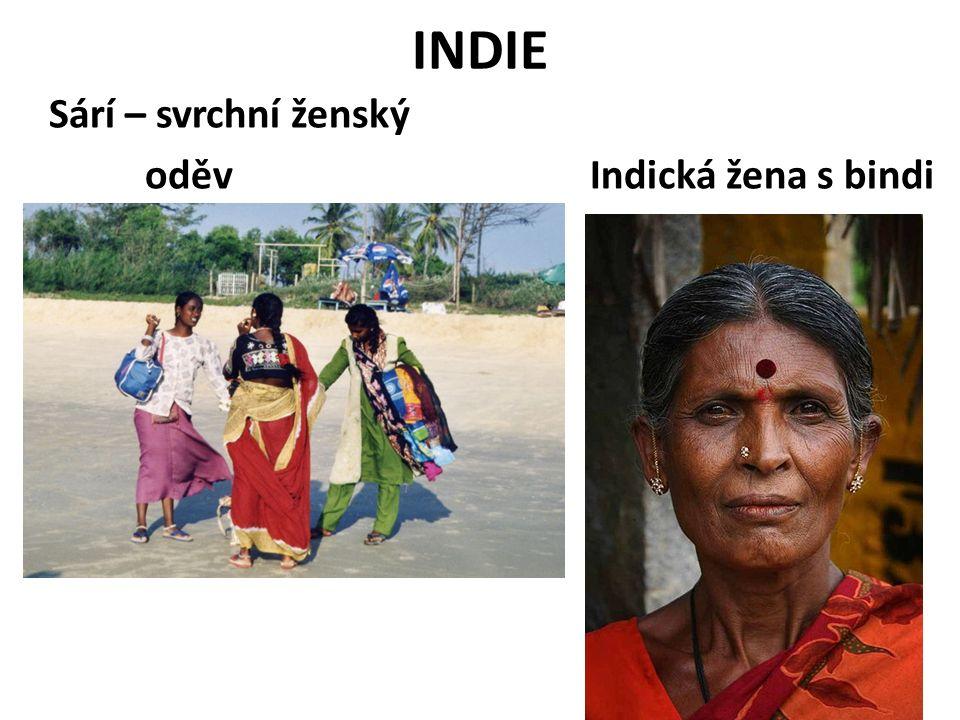 INDIE Sárí – svrchní ženský oděv Indická žena s bindi