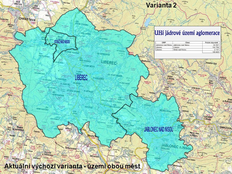 Varianta 2 Aktuální výchozí varianta - území obou měst