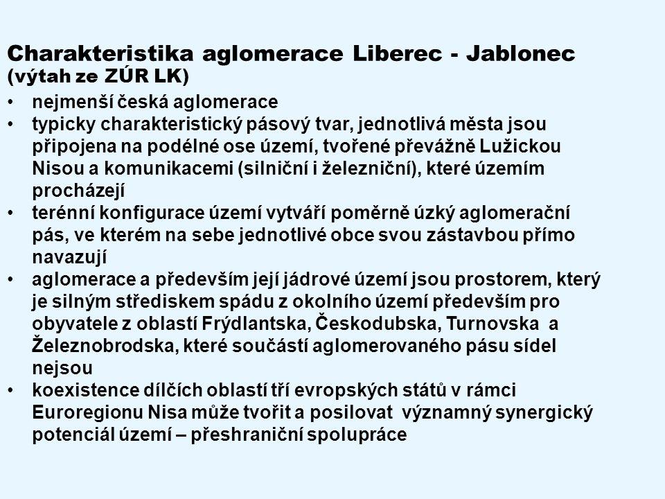 Charakteristika aglomerace Liberec - Jablonec (výtah ze ZÚR LK) nejmenší česká aglomerace typicky charakteristický pásový tvar, jednotlivá města jsou připojena na podélné ose území, tvořené převážně Lužickou Nisou a komunikacemi (silniční i železniční), které územím procházejí terénní konfigurace území vytváří poměrně úzký aglomerační pás, ve kterém na sebe jednotlivé obce svou zástavbou přímo navazují aglomerace a především její jádrové území jsou prostorem, který je silným střediskem spádu z okolního území především pro obyvatele z oblastí Frýdlantska, Českodubska, Turnovska a Železnobrodska, které součástí aglomerovaného pásu sídel nejsou koexistence dílčích oblastí tří evropských států v rámci Euroregionu Nisa může tvořit a posilovat významný synergický potenciál území – přeshraniční spolupráce