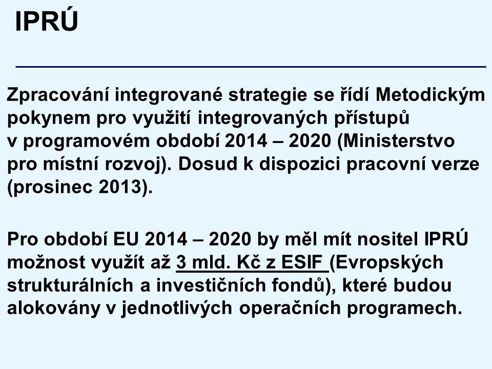 IPRÚ Zpracování integrované strategie se řídí Metodickým pokynem pro využití integrovaných přístupů v programovém období 2014 – 2020 (Ministerstvo pro místní rozvoj).