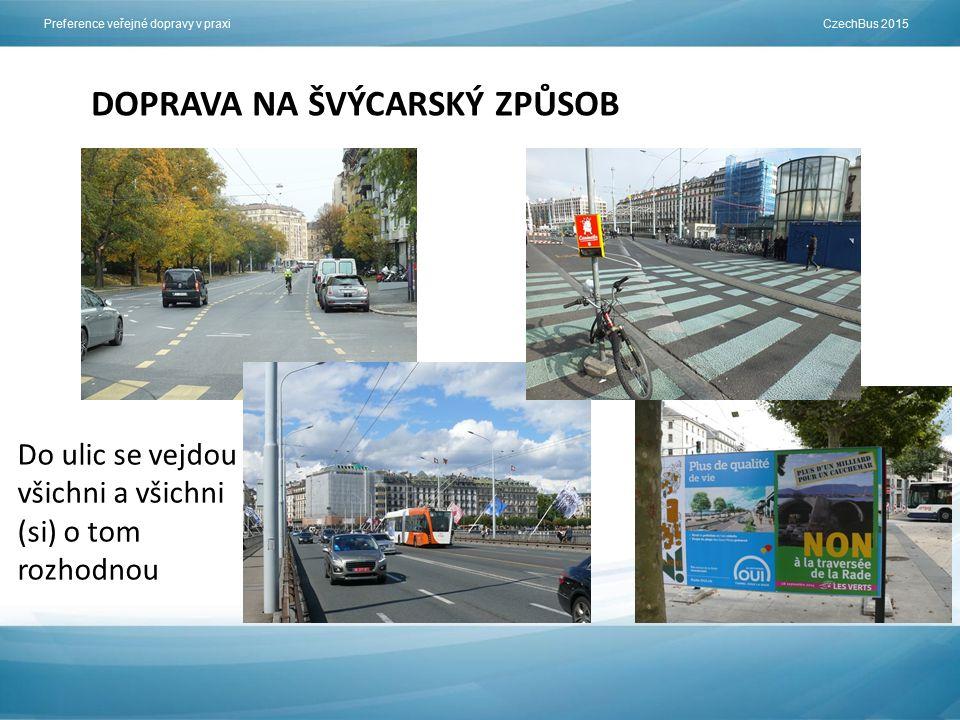 Preference veřejné dopravy v praxi CzechBus 2015 DOPRAVA NA ŠVÝCARSKÝ ZPŮSOB Do ulic se vejdou všichni a všichni (si) o tom rozhodnou