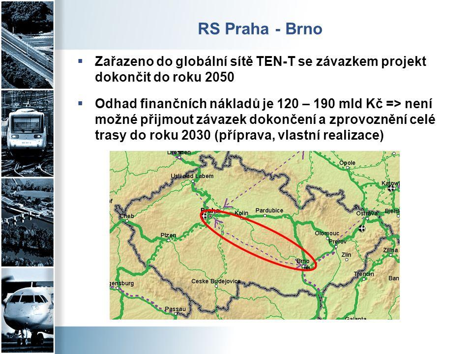 RS Praha - Brno  Zařazeno do globální sítě TEN-T se závazkem projekt dokončit do roku 2050  Odhad finančních nákladů je 120 – 190 mld Kč => není možné přijmout závazek dokončení a zprovoznění celé trasy do roku 2030 (příprava, vlastní realizace)