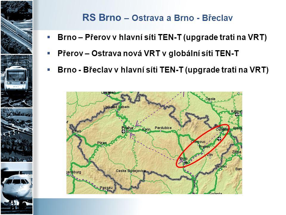 RS Brno – Ostrava a Brno - Břeclav  Brno – Přerov v hlavní síti TEN-T (upgrade trati na VRT)  Přerov – Ostrava nová VRT v globální síti TEN-T  Brno - Břeclav v hlavní síti TEN-T (upgrade trati na VRT)