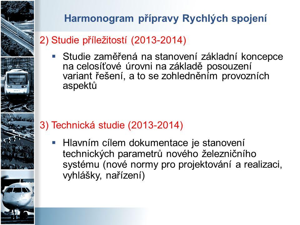Harmonogram přípravy Rychlých spojení  Studie zaměřená na stanovení základní koncepce na celosíťové úrovni na základě posouzení variant řešení, a to se zohledněním provozních aspektů 2) Studie příležitostí (2013-2014)  Hlavním cílem dokumentace je stanovení technických parametrů nového železničního systému (nové normy pro projektování a realizaci, vyhlášky, nařízení) 3) Technická studie (2013-2014)