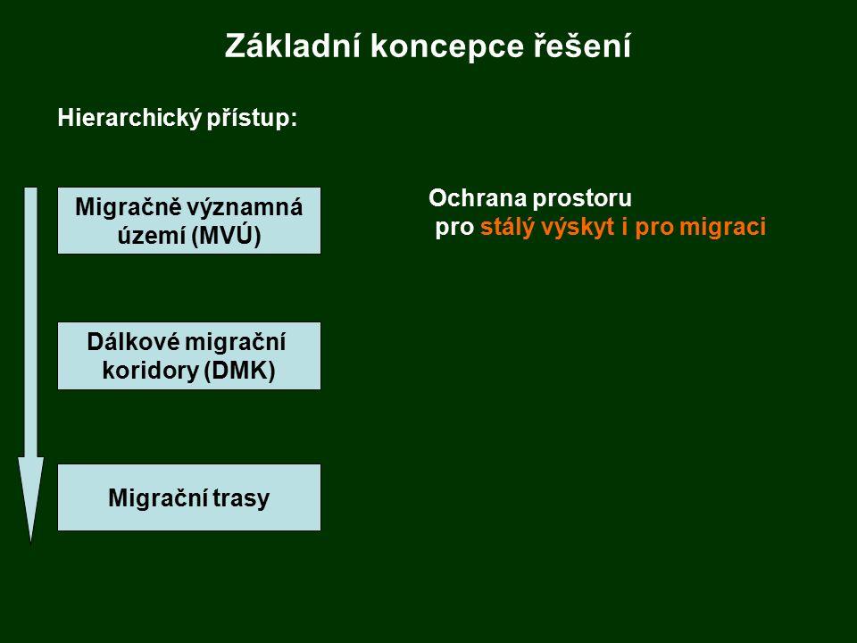 Základní koncepce řešení Hierarchický přístup: Migračně významná území (MVÚ) Dálkové migrační koridory (DMK) Migrační trasy Ochrana prostoru pro stálý výskyt i pro migraci
