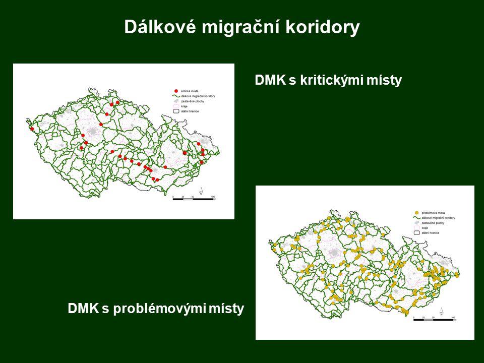 Dálkové migrační koridory DMK s kritickými místy DMK s problémovými místy