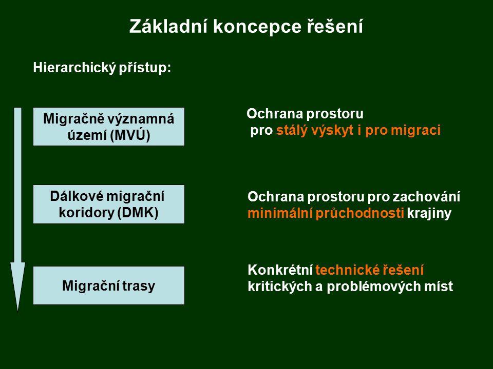 Základní koncepce řešení Hierarchický přístup: Migračně významná území (MVÚ) Dálkové migrační koridory (DMK) Migrační trasy Ochrana prostoru pro stálý výskyt i pro migraci Ochrana prostoru pro zachování minimální průchodnosti krajiny Konkrétní technické řešení kritických a problémových míst