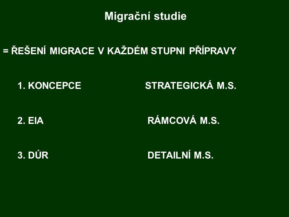 Migrační studie = ŘEŠENÍ MIGRACE V KAŽDÉM STUPNI PŘÍPRAVY 1. KONCEPCE STRATEGICKÁ M.S. 2. EIARÁMCOVÁ M.S. 3. DÚRDETAILNÍ M.S.