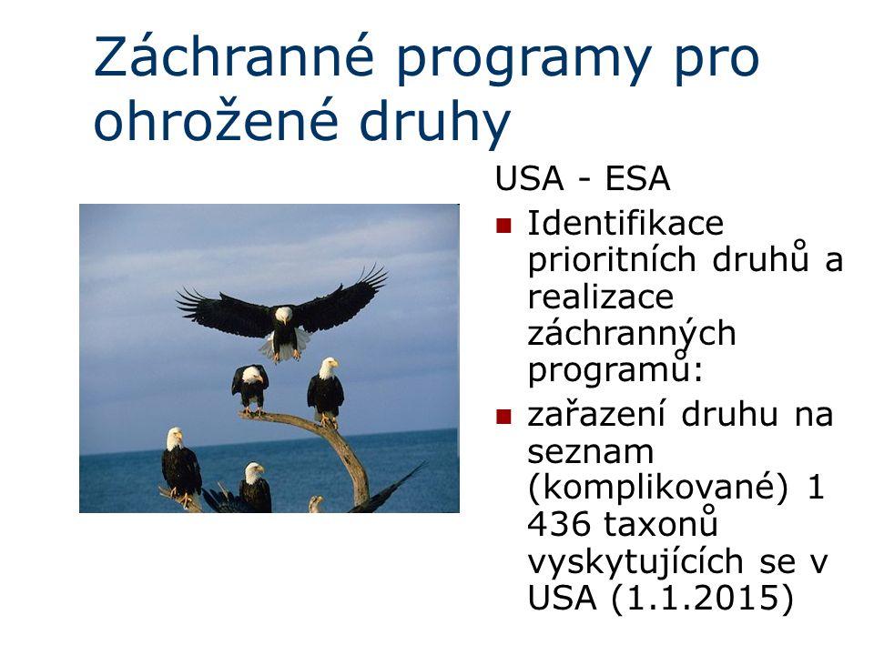 Záchranné programy pro ohrožené druhy USA - ESA Identifikace prioritních druhů a realizace záchranných programů: zařazení druhu na seznam (komplikované)  1 436 taxonů vyskytujících se v USA (1.1.2015)
