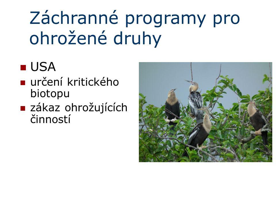 Záchranné programy pro ohrožené druhy USA určení kritického biotopu zákaz ohrožujících činností