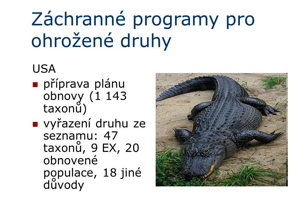 Záchranné programy pro ohrožené druhy USA příprava plánu obnovy (1 143 taxonů) vyřazení druhu ze seznamu: 47 taxonů, 9 EX, 20 obnovené populace, 18 jiné důvody