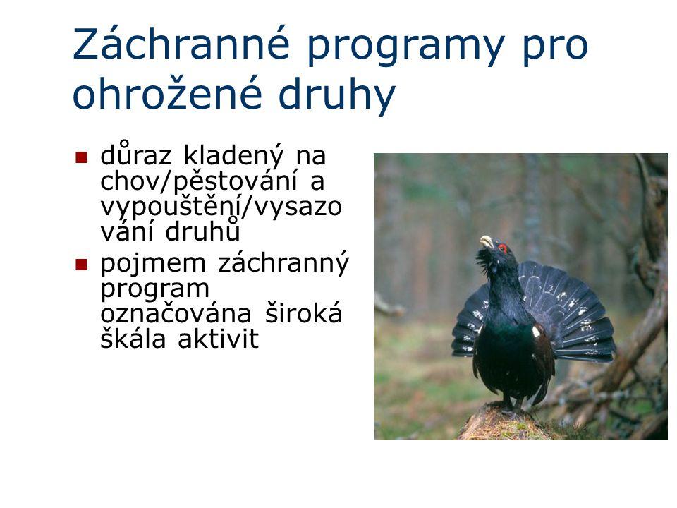 Záchranné programy pro ohrožené druhy důraz kladený na chov/pěstování a vypouštění/vysazo vání druhů pojmem záchranný program označována široká škála aktivit