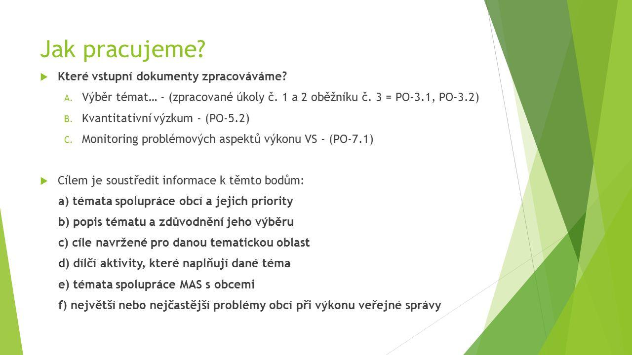 Jak pracujeme?  Které vstupní dokumenty zpracováváme? A. Výběr témat… - (zpracované úkoly č. 1 a 2 oběžníku č. 3 = PO-3.1, PO-3.2) B. Kvantitativní v