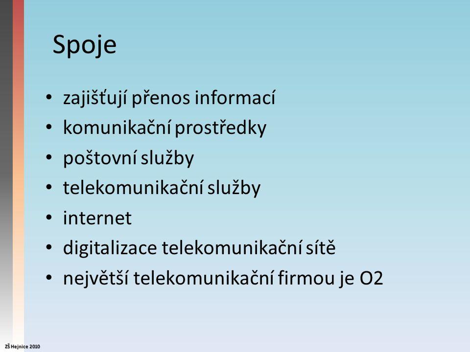 Spoje zajišťují přenos informací komunikační prostředky poštovní služby telekomunikační služby internet digitalizace telekomunikační sítě největší telekomunikační firmou je O2 ZŠ Hejnice 2010