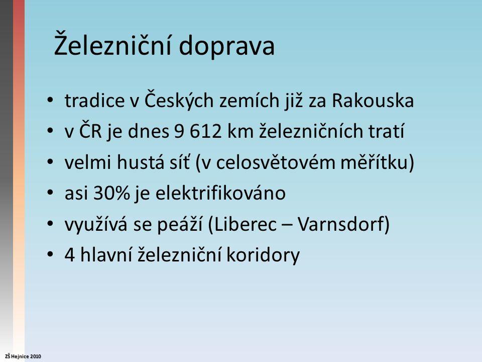 Železniční doprava tradice v Českých zemích již za Rakouska v ČR je dnes 9 612 km železničních tratí velmi hustá síť (v celosvětovém měřítku) asi 30% je elektrifikováno využívá se peáží (Liberec – Varnsdorf) 4 hlavní železniční koridory ZŠ Hejnice 2010