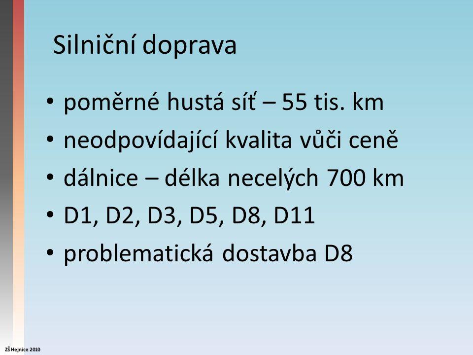 Silniční doprava poměrné hustá síť – 55 tis.