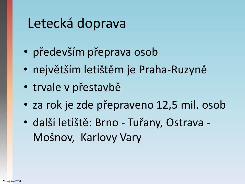 Letecká doprava především přeprava osob největším letištěm je Praha-Ruzyně trvale v přestavbě za rok je zde přepraveno 12,5 mil.
