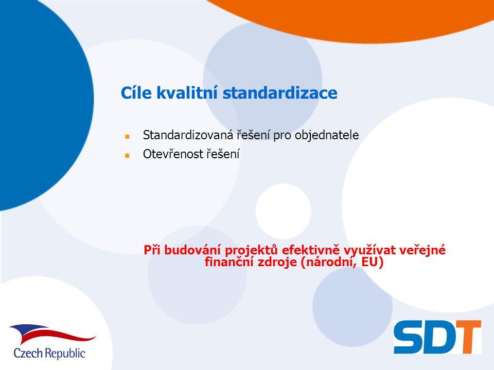 Standardizovaná řešení pro objednatele Otevřenost řešení Při budování projektů efektivně využívat veřejné finanční zdroje (národní, EU) Cíle kvalitní standardizace