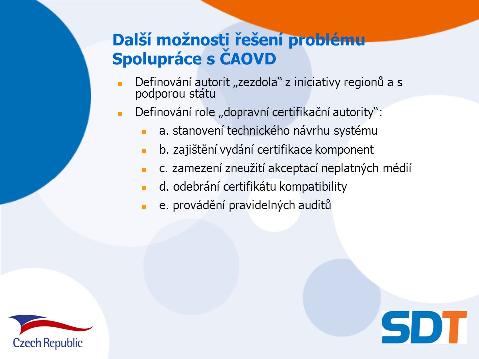 """Další možnosti řešení problému Spolupráce s ČAOVD Definování autorit """"zezdola"""" z iniciativy regionů a s podporou státu Definování role """"dopravní certi"""