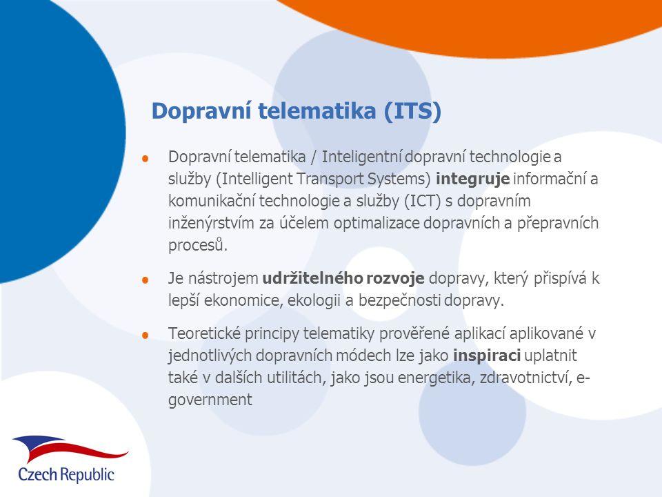 Dopravní telematika / Inteligentní dopravní technologie a služby (Intelligent Transport Systems) integruje informační a komunikační technologie a služ