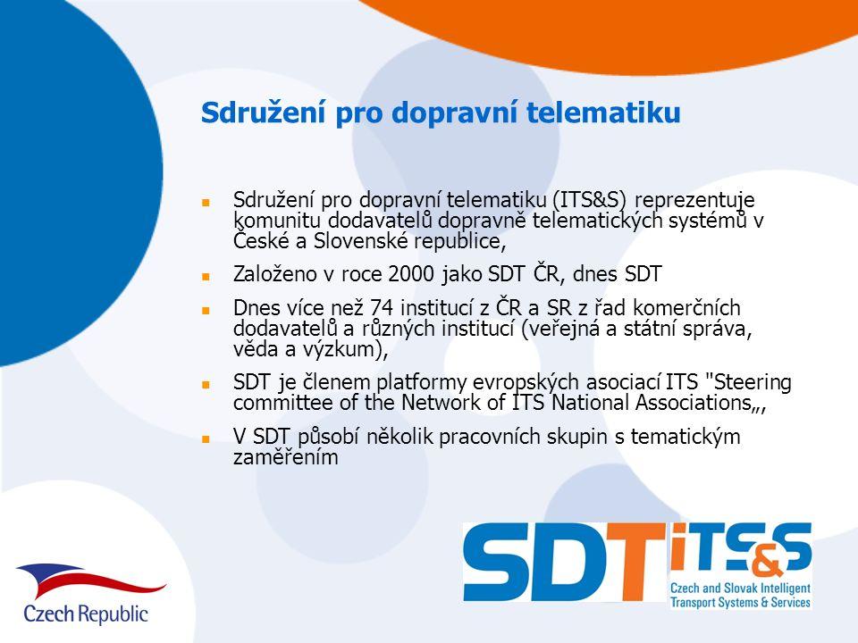 """Sdružení pro dopravní telematiku Sdružení pro dopravní telematiku (ITS&S) reprezentuje komunitu dodavatelů dopravně telematických systémů v České a Slovenské republice, Založeno v roce 2000 jako SDT ČR, dnes SDT Dnes více než 74 institucí z ČR a SR z řad komerčních dodavatelů a různých institucí (veřejná a státní správa, věda a výzkum), SDT je členem platformy evropských asociací ITS Steering committee of the Network of ITS National Associations"""", V SDT působí několik pracovních skupin s tematickým zaměřením"""