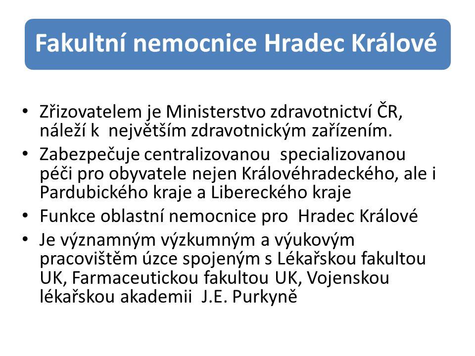 Fakultní nemocnice Hradec Králové Zřizovatelem je Ministerstvo zdravotnictví ČR, náleží k největším zdravotnickým zařízením.