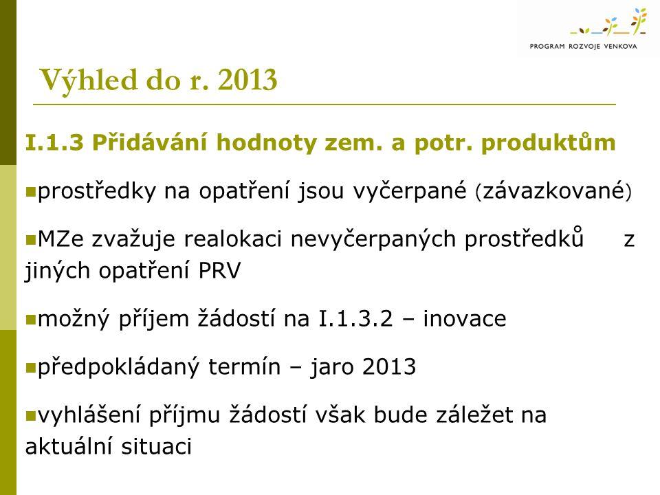 Výhled do r. 2013 I.1.3 Přidávání hodnoty zem. a potr. produktům prostředky na opatření jsou vyčerpané ( závazkované ) MZe zvažuje realokaci nevyčerpa