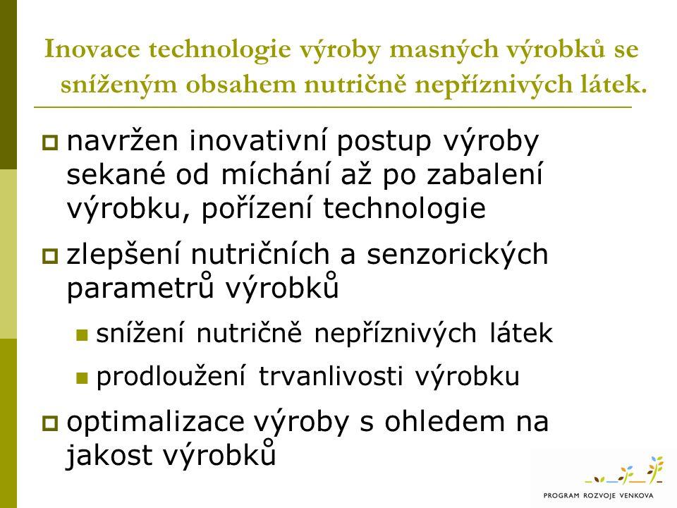  navržen inovativní postup výroby sekané od míchání až po zabalení výrobku, pořízení technologie  zlepšení nutričních a senzorických parametrů výrobků snížení nutričně nepříznivých látek prodloužení trvanlivosti výrobku  optimalizace výroby s ohledem na jakost výrobků
