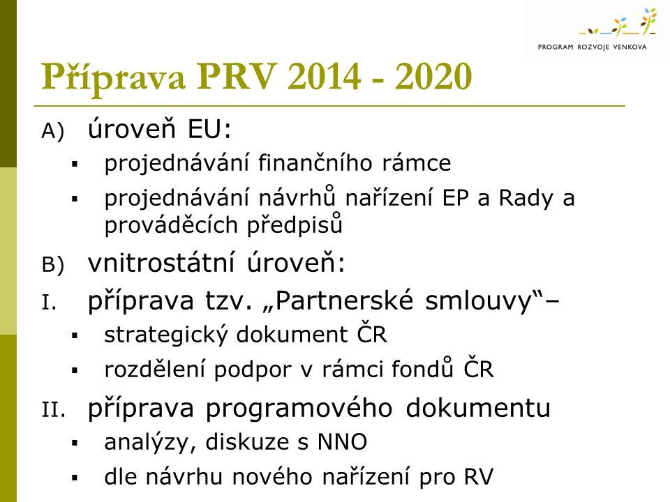 Příprava PRV 2014 - 2020 A) úroveň EU:  projednávání finančního rámce  projednávání návrhů nařízení EP a Rady a prováděcích předpisů B) vnitrostátní úroveň: I.