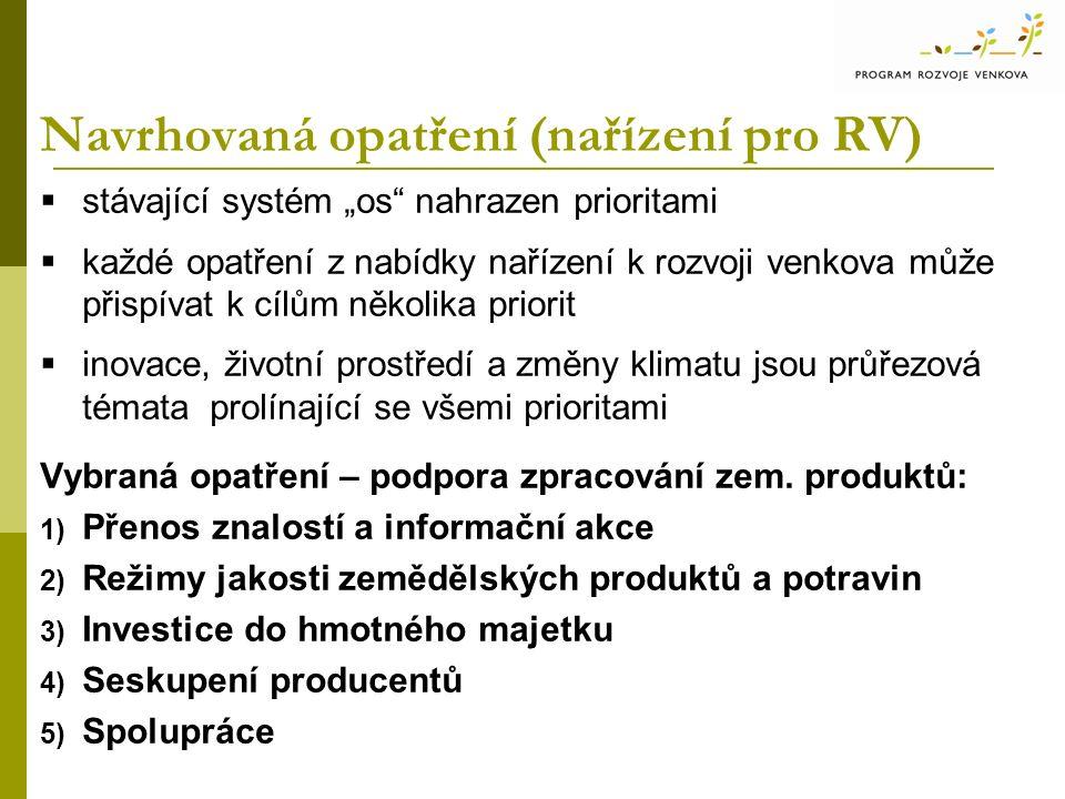 """Navrhovaná opatření (nařízení pro RV)  stávající systém """"os"""" nahrazen prioritami  každé opatření z nabídky nařízení k rozvoji venkova může přispívat"""