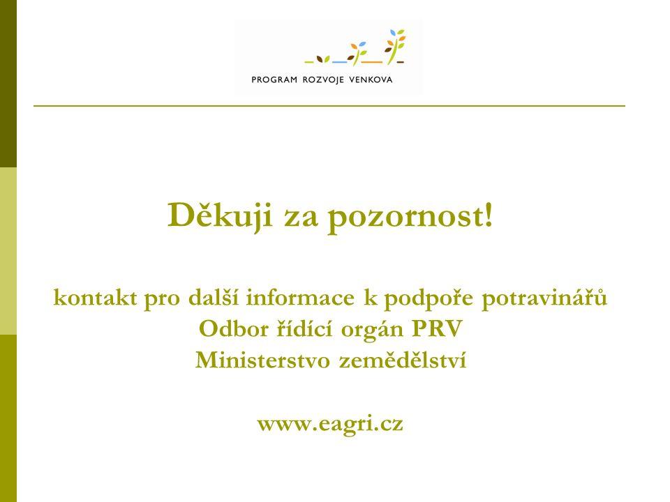 Děkuji za pozornost! kontakt pro další informace k podpoře potravinářů Odbor řídící orgán PRV Ministerstvo zemědělství www.eagri.cz
