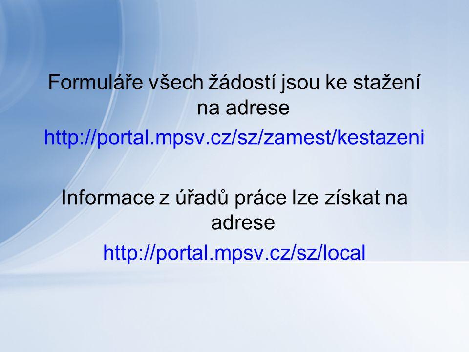 Formuláře všech žádostí jsou ke stažení na adrese http://portal.mpsv.cz/sz/zamest/kestazeni Informace z úřadů práce lze získat na adrese http://portal.mpsv.cz/sz/local