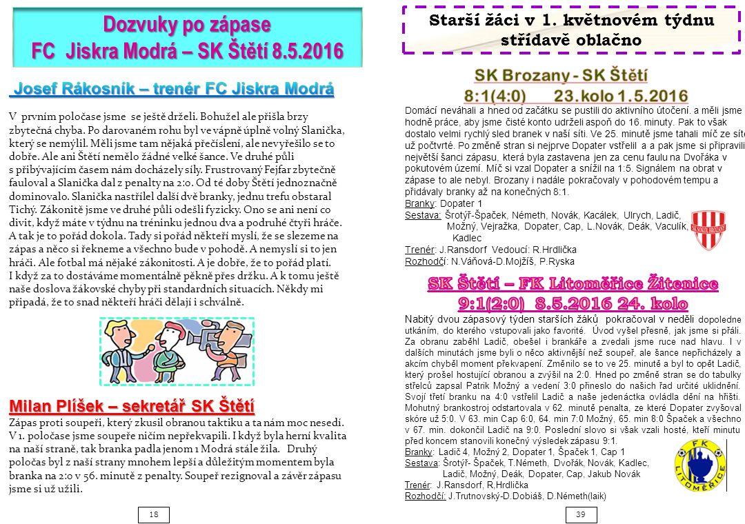 3918 Dozvuky po zápase FC Jiskra Modrá – SK Štětí 8.5.2016 Milan Plíšek – sekretář SK Štětí Zápas proti soupeři, který zkusil obranou taktiku a ta nám moc nesedí.