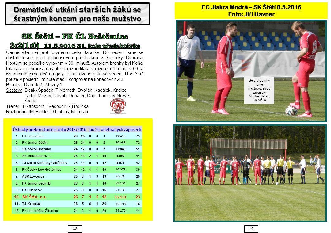 3819 FC Jiskra Modrá – SK Št ě tí 8.5.2016 Foto: Ji ř í Havner Se 2 útočníky jsme nastupovali do zápasu v Modré.