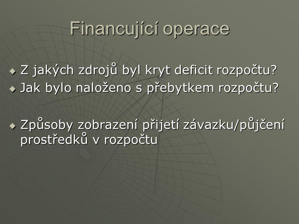 Financující operace  Z jakých zdrojů byl kryt deficit rozpočtu?  Jak bylo naloženo s přebytkem rozpočtu?  Způsoby zobrazení přijetí závazku/půjčení