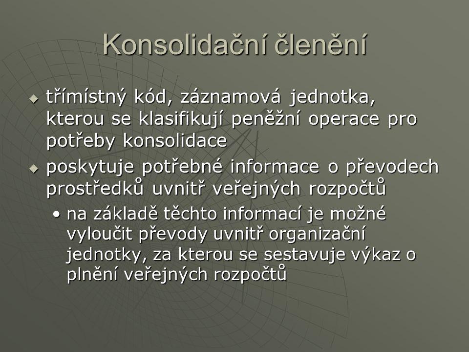 Konsolidační členění  třímístný kód, záznamová jednotka, kterou se klasifikují peněžní operace pro potřeby konsolidace  poskytuje potřebné informace o převodech prostředků uvnitř veřejných rozpočtů na základě těchto informací je možné vyloučit převody uvnitř organizační jednotky, za kterou se sestavuje výkaz o plnění veřejných rozpočtůna základě těchto informací je možné vyloučit převody uvnitř organizační jednotky, za kterou se sestavuje výkaz o plnění veřejných rozpočtů