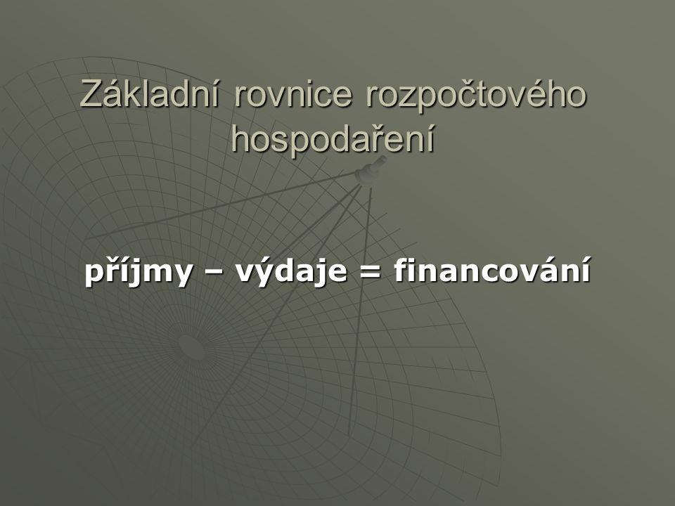 Základní rovnice rozpočtového hospodaření příjmy – výdaje = financování