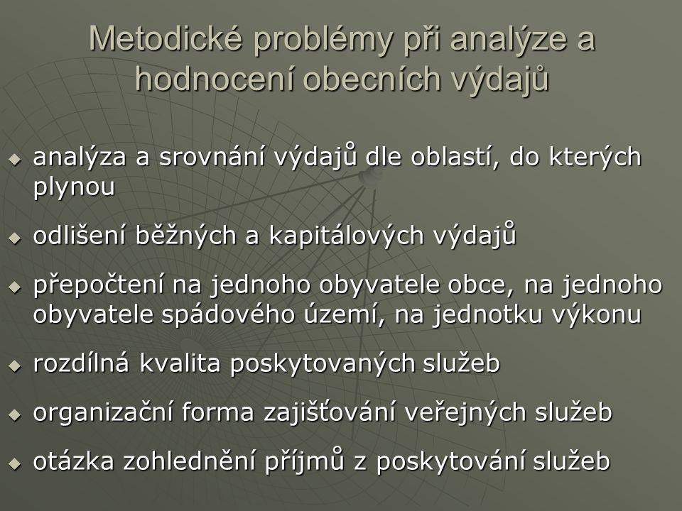 Metodické problémy při analýze a hodnocení obecních výdajů  analýza a srovnání výdajů dle oblastí, do kterých plynou  odlišení běžných a kapitálovýc