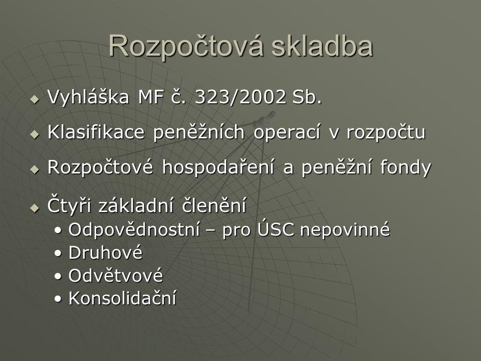 Rozpočtová skladba  Vyhláška MF č.323/2002 Sb.