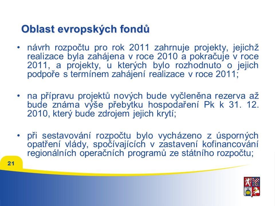 21 Oblast evropských fondů návrh rozpočtu pro rok 2011 zahrnuje projekty, jejichž realizace byla zahájena v roce 2010 a pokračuje v roce 2011, a projekty, u kterých bylo rozhodnuto o jejich podpoře s termínem zahájení realizace v roce 2011; na přípravu projektů nových bude vyčleněna rezerva až bude známa výše přebytku hospodaření Pk k 31.