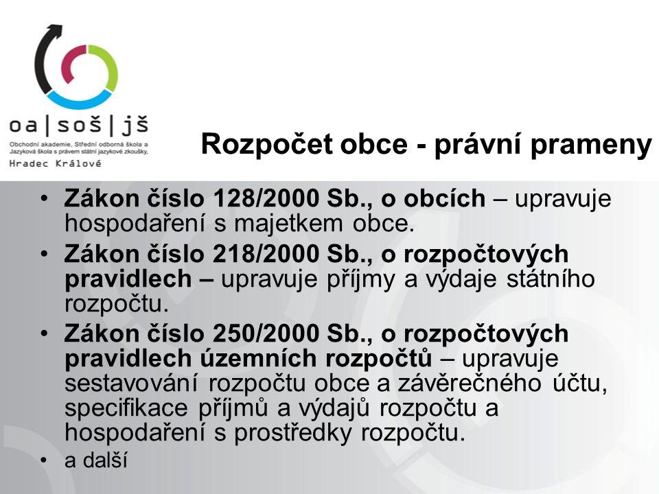 Rozpočet obce - právní prameny Zákon číslo 128/2000 Sb., o obcích – upravuje hospodaření s majetkem obce.