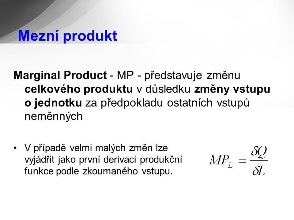 Mezní produkt Marginal Product - MP - představuje změnu celkového produktu v důsledku změny vstupu o jednotku za předpokladu ostatních vstupů neměnných V případě velmi malých změn lze vyjádřit jako první derivaci produkční funkce podle zkoumaného vstupu.