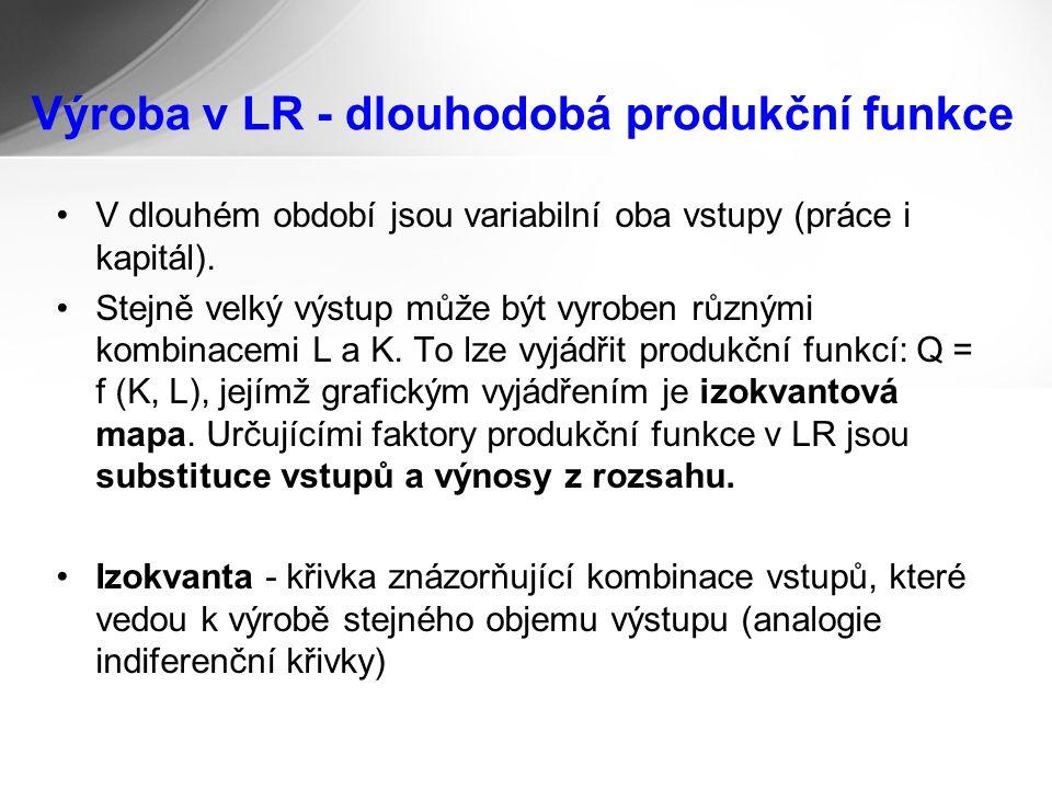 Výroba v LR - dlouhodobá produkční funkce V dlouhém období jsou variabilní oba vstupy (práce i kapitál).