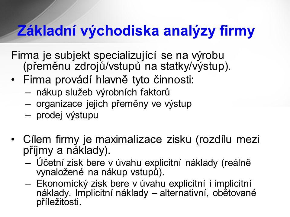 Základní východiska analýzy firmy Firma je subjekt specializující se na výrobu (přeměnu zdrojů/vstupů na statky/výstup).