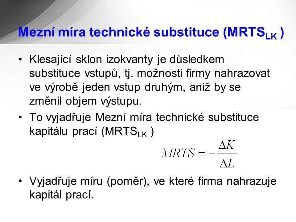 Mezní míra technické substituce (MRTS LK ) Klesající sklon izokvanty je důsledkem substituce vstupů, tj.